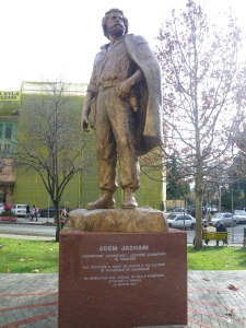 New monument to Adem Jashari, by Embassy Street in Tirana.  Artist: Mumtaz Dhrami