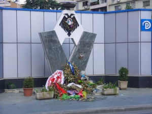 Monument to Hajdari in front of PD Headquarters, where he was shot.