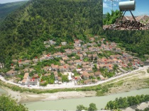 Circled water tanks in Gorica, Berat